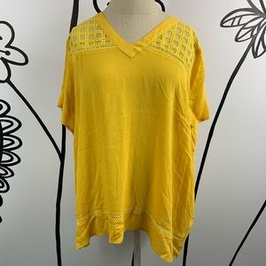 Clothing Obsessed Company Yellow V Neck Blouse